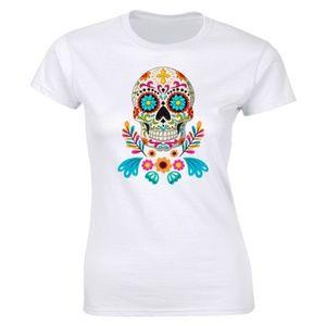 Half It Tops - Traditional Skull Mexico Skull T-Shirt Calavera